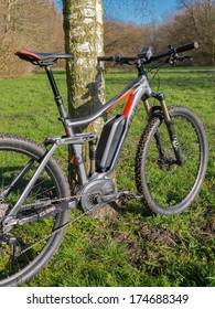 ALMERE, NETHERLANDS - FEB. 3, 2014: Photo of a state of the art Cube electric powered mountainbike which uses a Bosch motor and provides a smooth and easy ride on rough terrain