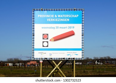 Almere, the Netherlands - February 3, 2019: Billboard for the Dutch Provincial elections on 20 march 2019.