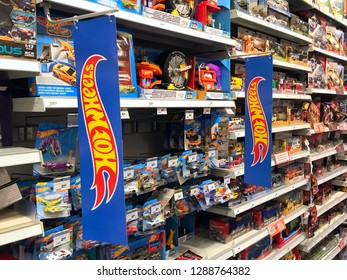 Almere, the Netherlands - Januari 18, 2019: Assortment of various Hot Wheels scale die-cast toy cars.