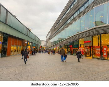 Almere Netherlands Januari 2019, people shopping at the mall in Almere centrum