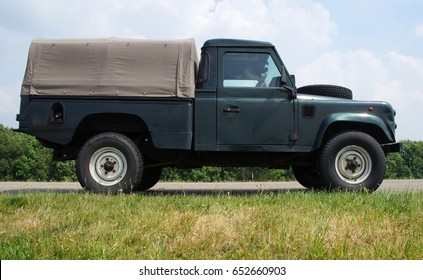 Almere, the Netherlands - June 3, 2017: Land Rover 110 Defender 4C Diesel parked by the side of the road. Nobody in the vehicle