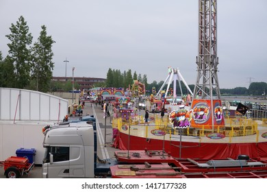 Almere, The Netherlands - June 5 2019: Fair in Almere, City Center of Almere, Almere-Stad.
