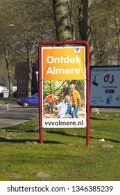 Almere, the Netherlands - March 22, 2019:  Billboard advertising for discovering the Dutch city of Almere, Flevoland.