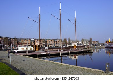 Almere, the Netherlands - March 29, 2019: Pancake restaurant ship the harbor of Almere Haven.