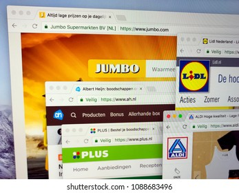 Almere, Netherlands - May 11, 2018: Official websites of the major Dutch supermarkets battling the Netherlands  Supermarket price war: Albert Heijn (AH), Aldi, Plus, Lidl and Jumbo.