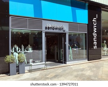 Almere, the Netherlands - May 11, 2019: Entrance of  Sandwich women's cloth store at a shopping center in Almere.