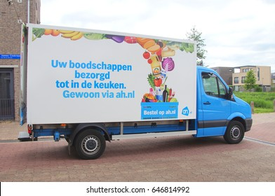 Almere, The Netherlands - May 24, 2017: Dutch Albert Heijn grocery delivery truck parked on a public road in the city of Almere.