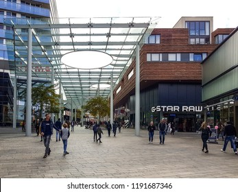 Almere Netherlands September 2018, bussy day at the shopping mall, people at shopping street