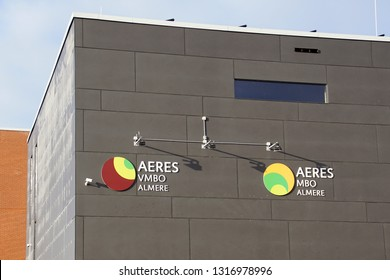 Almere Poort, the Netherlands - February 19, 2019: Wall and logo of Dutch High School and middle-level applied education Aeres in the city of Almere.