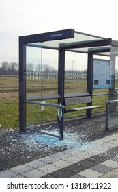 Almere Poort, the Netherlands - February 20, 2019: Vandalised bus shelter in the city of Almere.