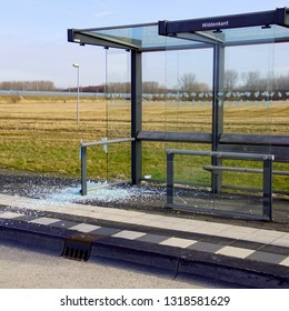 Almere Poort, the Netherlands - February 20, 2019: Vandalized bus shelter in the city of Almere.