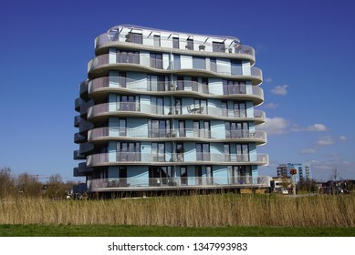 Almere Poort, the Netherlands - March 24, 2019:  Apartment building Villa Homerus in the city of Almere.