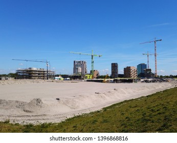 Almere Poort, the Netherlands - May 13, 2019: Housing development in the youngest and fastest growing city in the Netherlands, Almere.