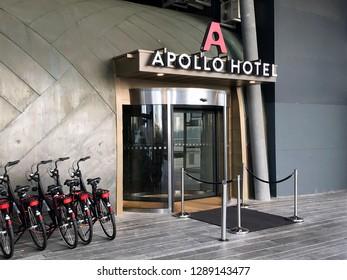 Almere Stad, the Netherlands - Januari 19, 2019: Entrance of Apollo Hotel Almere.