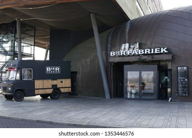 Almere Stad, The Netherlands, March 29, 2019: Brewery and Restaurant Bierfabriek in Almere Stad