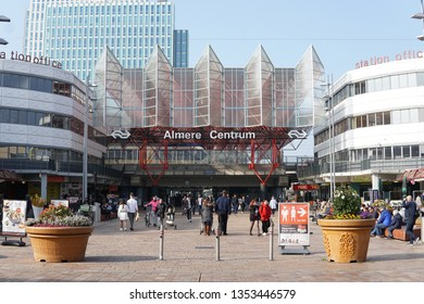 Almere Stad, The Netherlands, March 29, 2019: Almere Centrum train station and Stationsplein