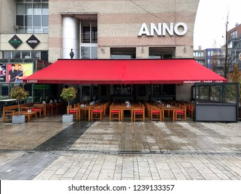 Almere Stad, The Netherlands - November 23, 2018: Entrance of Hotel, Club and Restaurant Anno in the city of Almere.