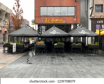 Almere Stad, the Netherlands - November 23, 2018: Entrance of restaurant and cafe Le baron, in the city of Almere.
