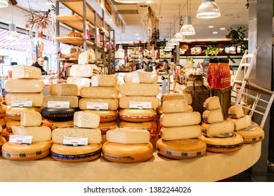 ALMERE/NETHERLANDS - May 08, 2015: Traditional cheese shop in Holland. Different types of cheese in a cheese store in Almere, the Netherlands.