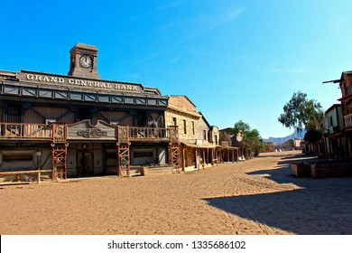 ALMERIA, ANDALUSIA/SPAIN, September 3, 2015: Street of a town in the American West designed to record films of this theme, located in the  Taberna desert,  in Almeria, Spain. Bank wooden facade in wes