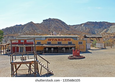 ALMERIA, ANDALUSIA/SPAIN, September 3, 2015: American West town square, in Fort, used to record films of this theme, located in the Taberna desert in Almeria, Spain. There is a stable and the gallows.