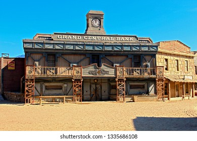 ALMERIA, ANDALUSIA/SPAIN, September 3, 2015: Bank wooden facade in a western town, part of a set to record western movies, in the Taberna desert, in Almería, Spain.