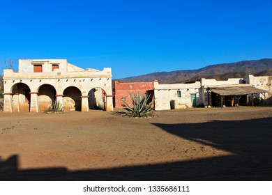 ALMERIA, ANDALUSIA/SPAIN, September 3, 2015: Decorated of Mexican town for the cinema, in Fort Bravo, located in the desert of Taberna, in Almeria, Spain.