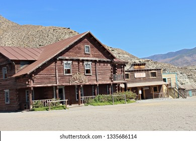 ALMERIA, ANDALUSIA/SPAIN, September 3, 2015: Fort Bravo, Western movie sets, in the Taberna desert, in Almería, Spain. Saloon and Sheriff's Office