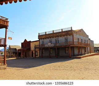 ALMERIA, ANDALUSIA/SPAIN, September 3, 2015: Street of a town in the American West, built to record films, located in the desert of Taberna in Almeria, Spain. There is a saloon and a hotel.