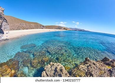 Almeria Playa del los muertos beach at Cabo de Gata in Spain
