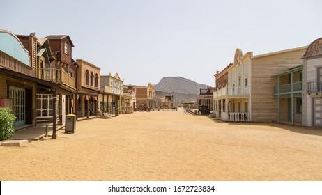 Almeria, Spain; 14 03 2020: Village of American West movies in the Tabernas desert