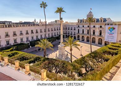 Almeria, Spain. Circa January 2019. View of historic Plaza de la Constitucion in downtown Almeria.
