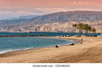 Almeria, Spain. Circa March 2019. View of the Mediterranean beach of El Zapillo in Almeria, Andalusia, Spain.