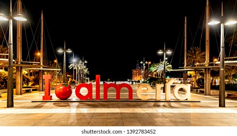"Almeria, Spain. Circa March 2019. Night view of  ""I love Almeria"" sign that welcomes visitors to the city of Almeria, Spain."