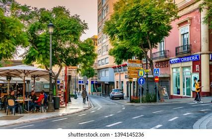 Almeria, Spain. Circa March 2019. Urban scene of the city of Almeria in southern Spain.