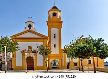 Almeria, Spain. Circa March 2019. Street view of San Roque church in the city of Almeria, Spain.