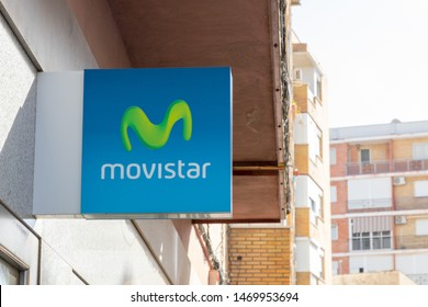 Almeria, Spain - July 2019: Movistar logo on a Store in Spain