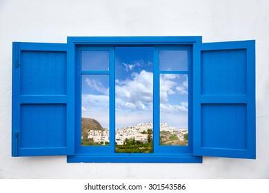 Almeria view from blue window of Mojacar photo mount