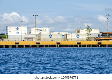 Almirante, Panama -  - 1 November, 2017: Shipping containers of Chiquita, a Swiss producer and distributor of bananas, ready to transport in the Port of Almirante as seen from the Caribbean Sea.