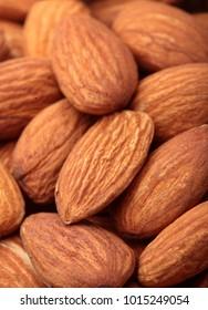 Almond. Almonds macro. Almonds background. Almond nuts.Almond nuts texture closeup.Selective focus