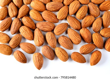 Almond. Almonds on white background macro. Almonds background. Almond nuts.