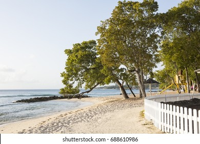 Almond Beach. Almond Beach is a public beach just north of Speightstown on the west coast of Barbados. The image shows how close to the beach the resorts are allowed to build.