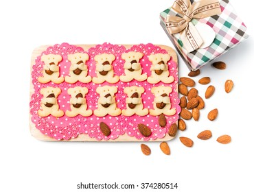 Almond bear cookies isolated on white
