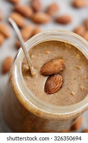 Almond butter in glass jar