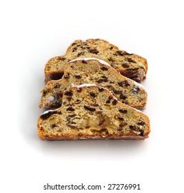 almond cake with raisins isolated on white background