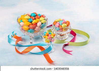 Almond candies.Colorful candies background top view, almond sweets. Sugar Feast, (Feast of Ramadan) Ramadan concepts.