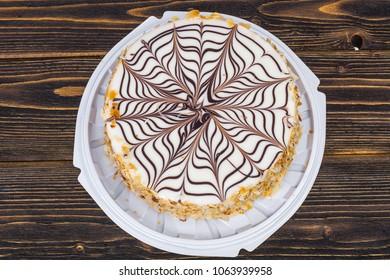 Almond chocolate cake Esterhazy. Studio Photo