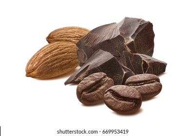 Almond chocolate mocha coffee beans isolated on white background