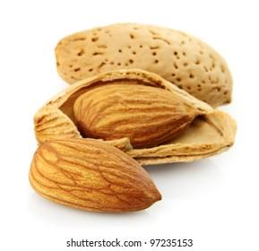 Almond closeup on white background