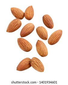 almond Closeup stack , isolated on the white background Full depth of field.